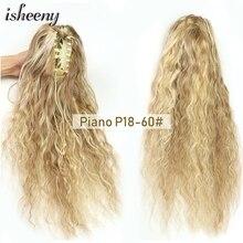 Isheeny – Extensions de cheveux naturels Remy, queue de cheval, 16 à 24 pouces, bouclés, blonds, avec pince, 100g