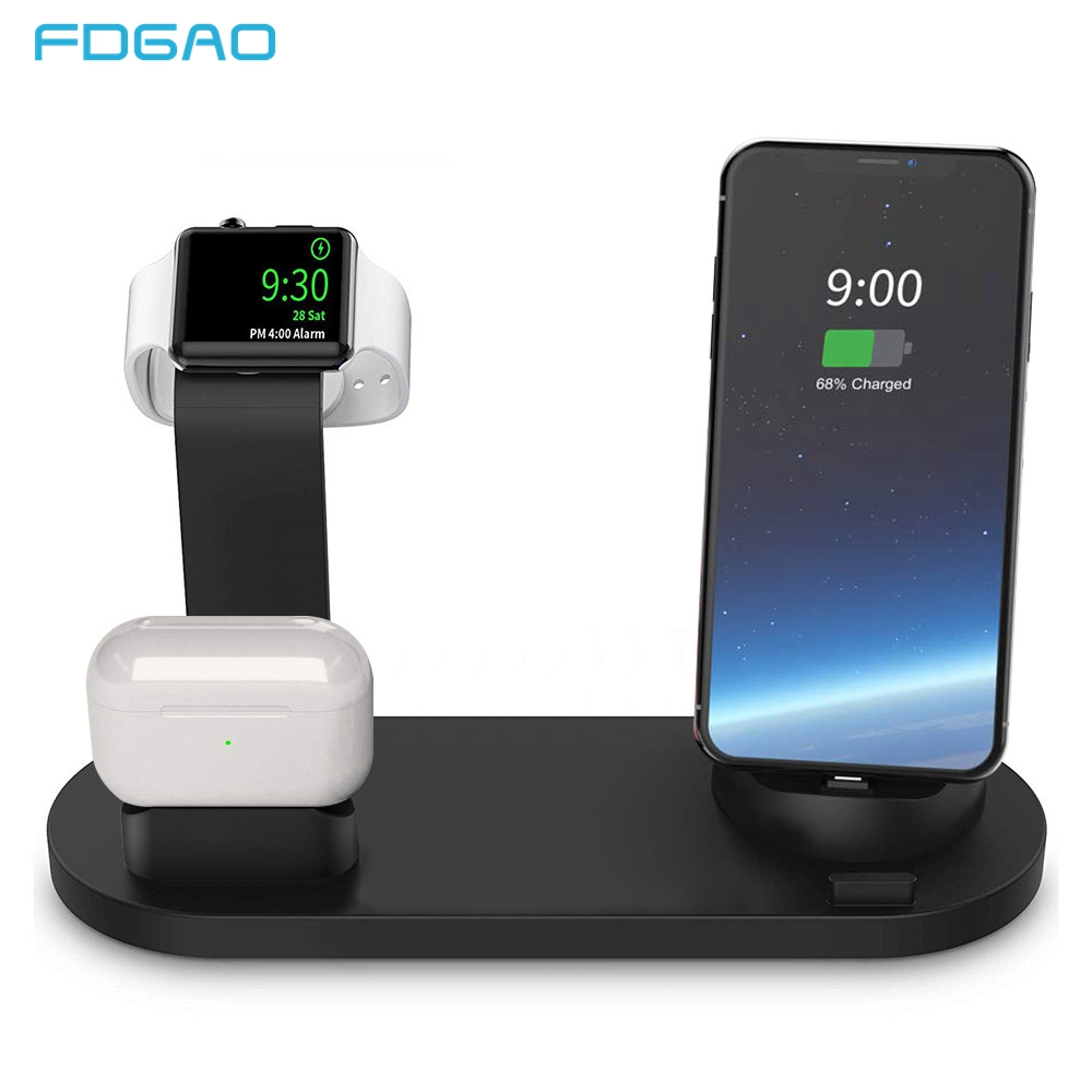 FDGAO 3 in 1 Charging Stand For iPhone 12 11 X XR XS 8 7 Plus USB Charger Dock Station Base For Apple Watch 6 5 4 3 2 1 AirPods