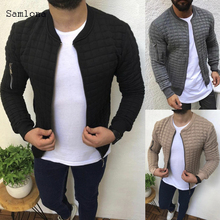 2020 европейский стиль мода молодежные мужские куртки осень зима тонкий плед вдавливания ребер молнии рукав туника Мужские пальто одежда