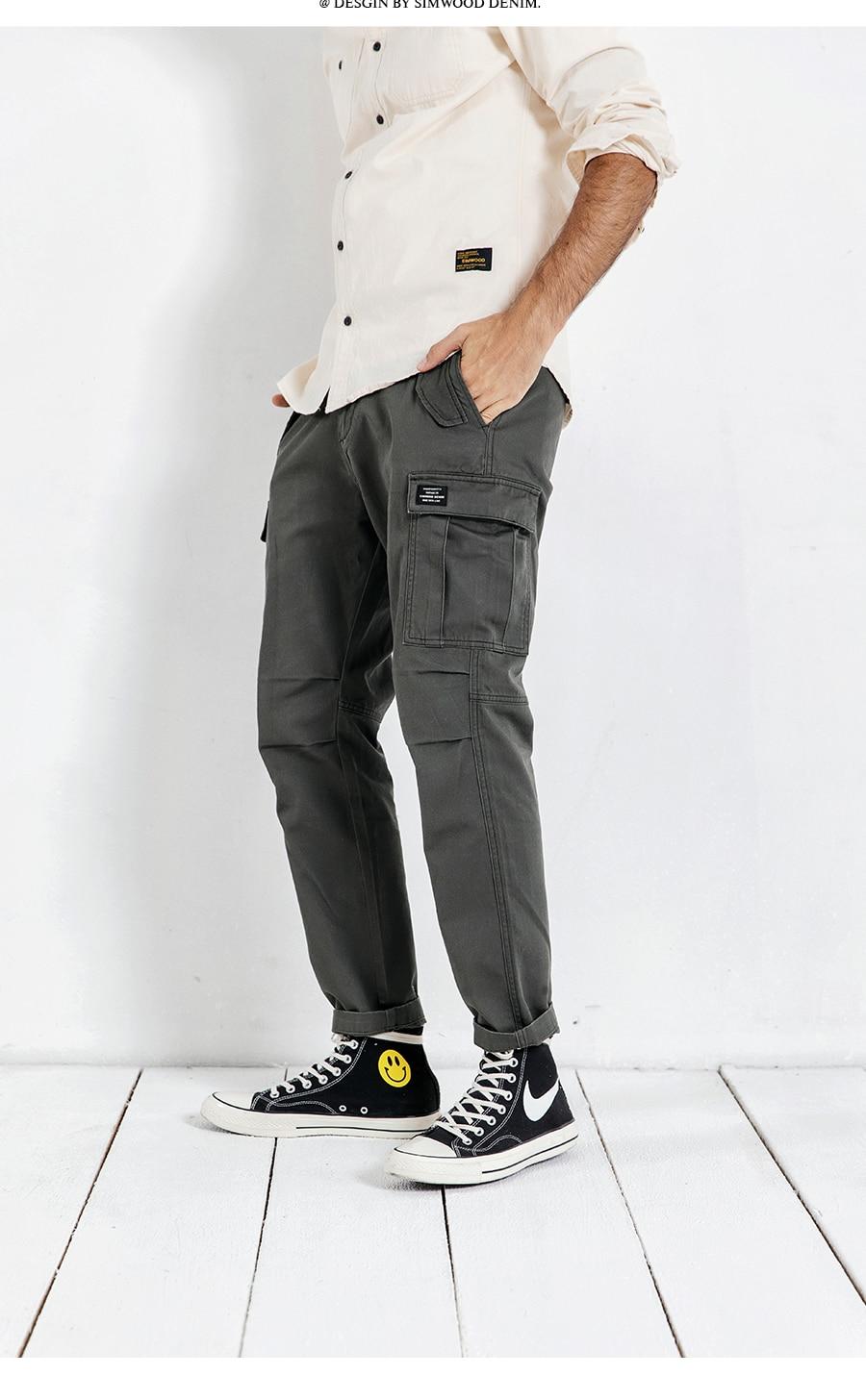 Hac13372e24414b758903e4834dcde0f9r SIMWOOD New 2019 Casual Pants Men Fashion track Cargo Pants Ankle-Length military autumn Trousers Men pantalon hombre 180614