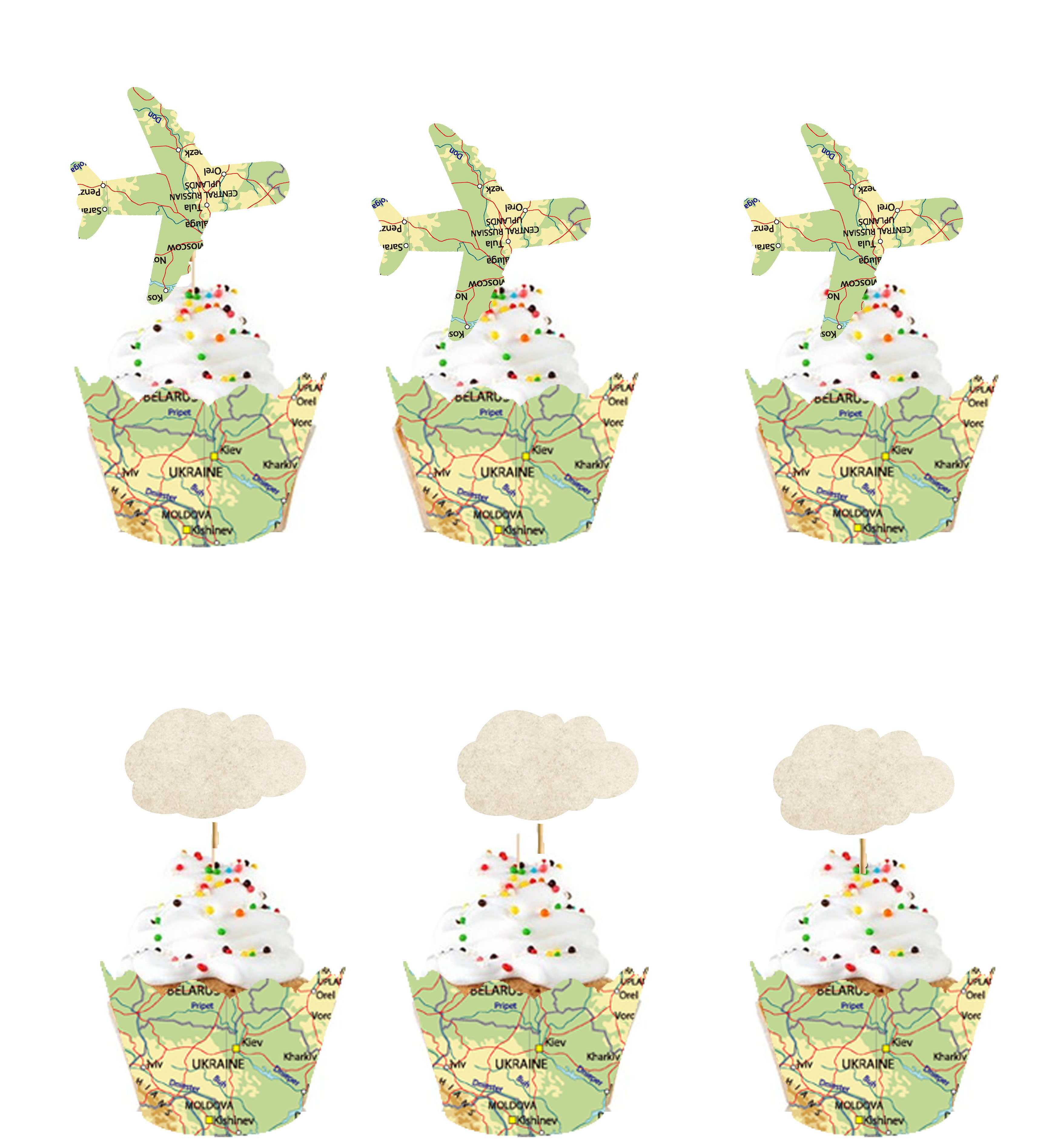 24 Vintage Map Airplane and Cloud Shaped CupCake Toppers Wrappers Party Decoration-Travel Themed Going Away Decoration Supplies image