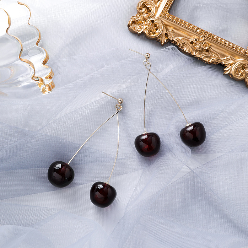 Hac1350c436d84bbfb003930c253f05afL - AOMU S925 Sterling Silver Pin Autumn Winter New Wine Red Cherry Cute Fruit Long Drop Earrings For Women Vintage Pendientes Gifts