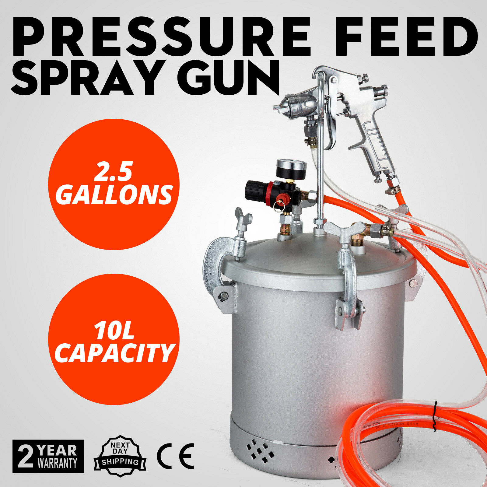 New 2-1/2 Gallon Pressure Feed Paint Tank Pot Spray Gun Sprayer System