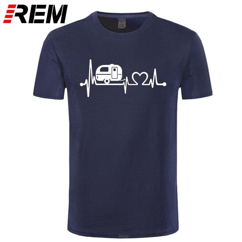 REM BITTER COFFEE Summer New Cotton Man T-shirts Tops Tees Short Sleeve Camper Travel Hiker Camper Heartbeat T Shirt