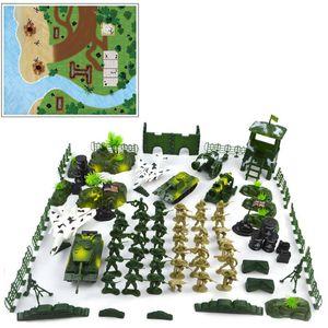 Crianças diy modelo militar brinquedo soldado cena conjunto 90 pçs militar areia tabela soldado modelo conjunto com mapa militar