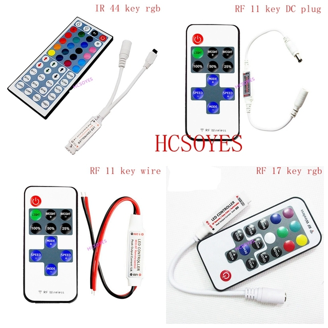RGB LED strip mini controller dimmer IR Infrared RF Wireless Remote 44 24 17 rgb key