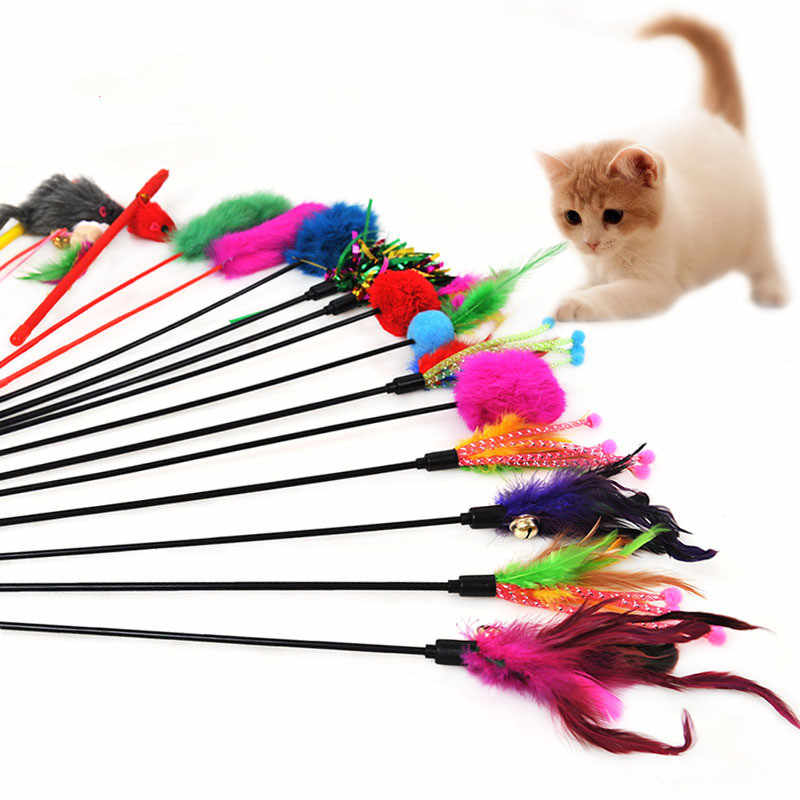 1pc Cat Teaser Multi Color Bird Feather Plush Interactive Toy For
