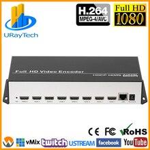 8 в 1 H.264 HDMI к IP видео кодировщик IPTV 8 каналов живого потокового кодировщика HD кодировщики H264 с UDP HLS RTMP RTSP HTTP ONVIF