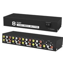 8-полосный композитный распределитель RCA AV 1X8 видео и аудио 1 в 8 Выход распределитель для STB,DVD HDTV