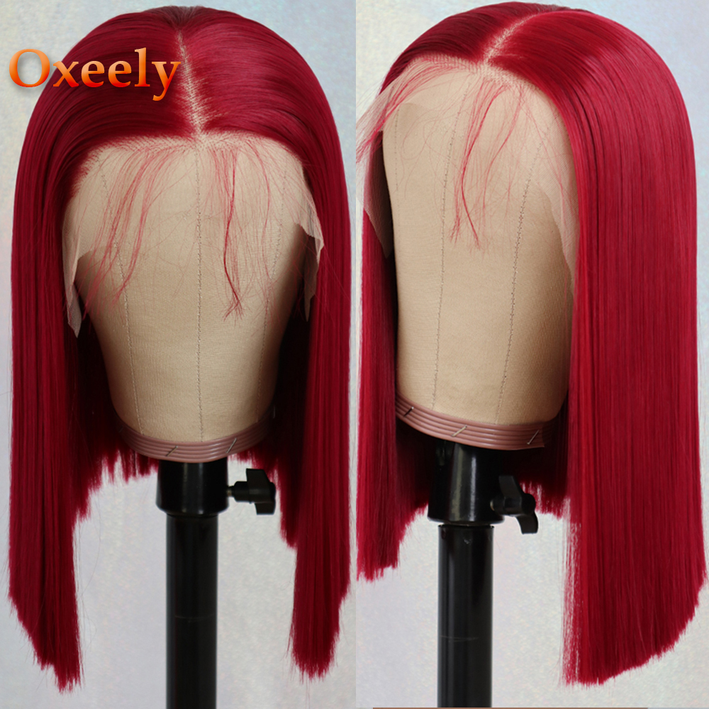 Oxeely 13x6 Lace Front Wigs Red Color Wigs Heat Resistant Short Bob Straight Synthetic Lace Front Wigs for Fashion Women