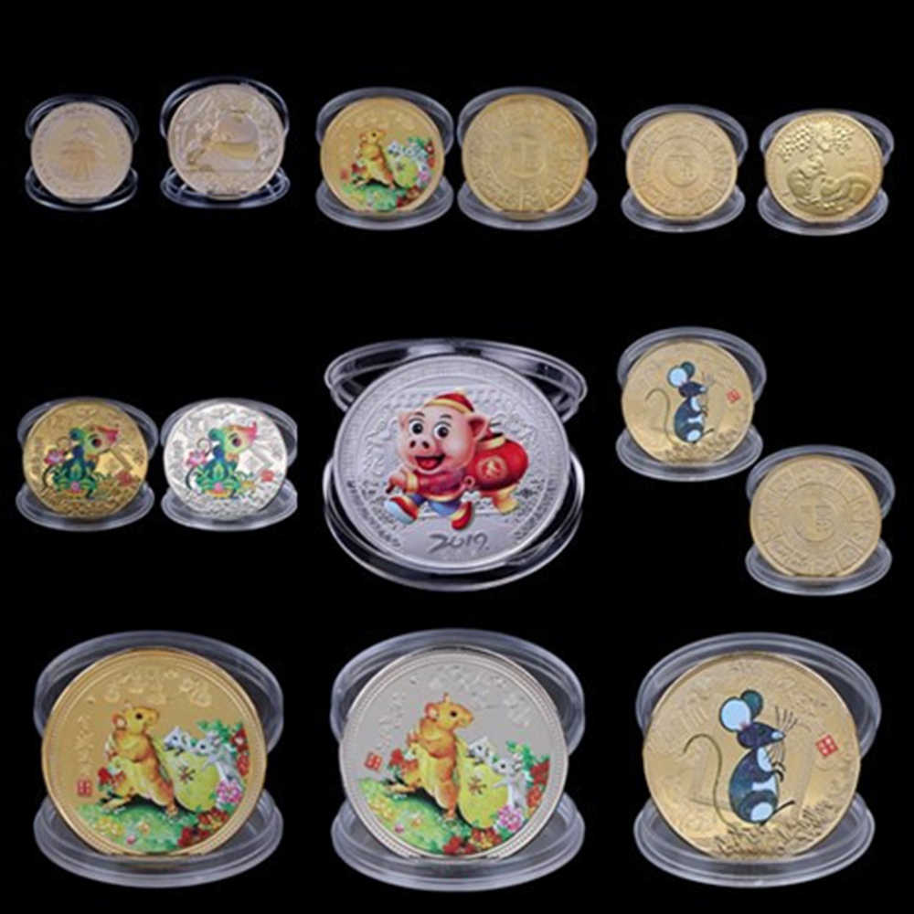 Multi Styles 2020 Year Of The Rat Commemorative Coin Chinese Zodiac Souvenir Collectible Coins Collection Art Craft