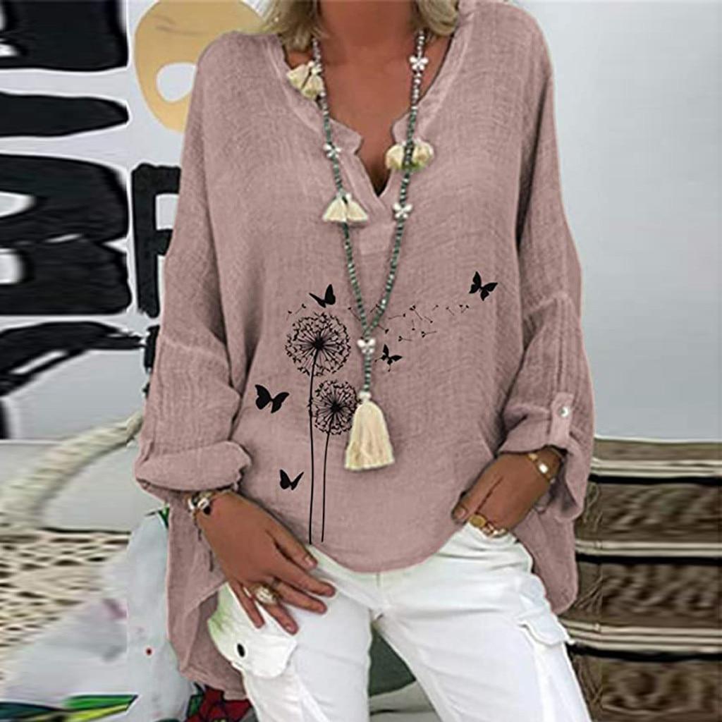 Kadın gömlek Boho giyim pamuk ve keten artı boyutu nakış v yaka uzun kollu Casual bluz Tops bluz Femme Blanche
