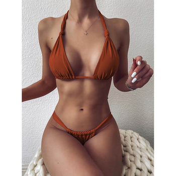 Sexy Micro Bikini 2020 Woman Swimsuit Mini Thong Bikinis Set Beachwear Halter Top Swimwear Women Swimming Wear for Bathing Suit 1