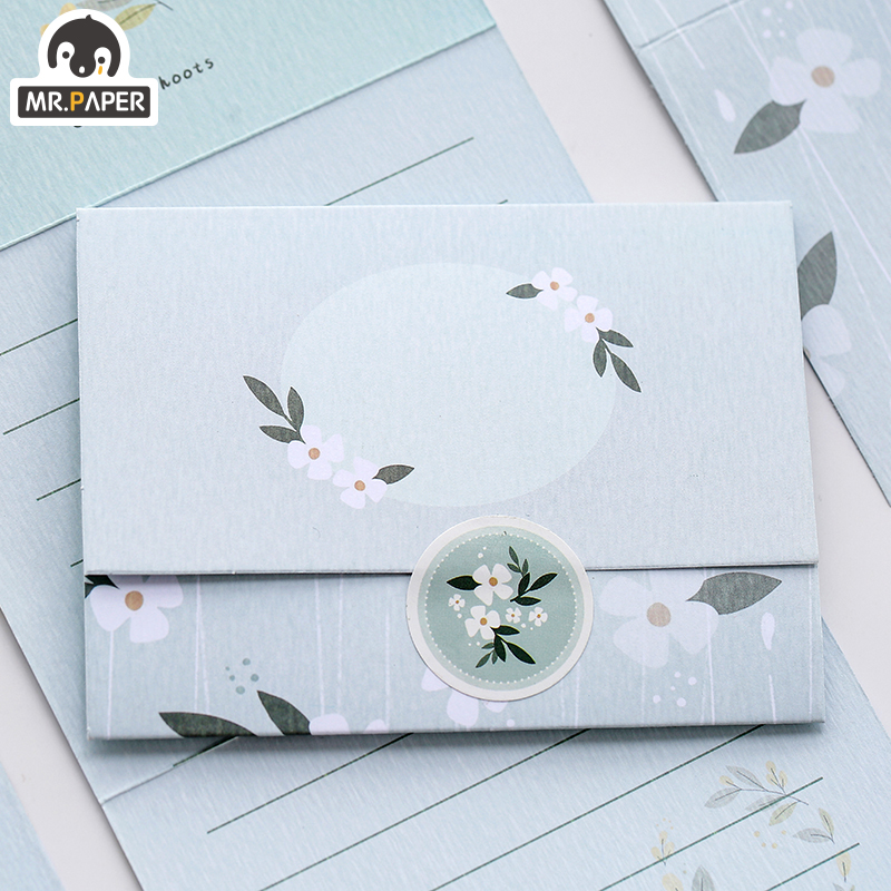 Mr.Paper Chinese Ancient Style Flowers Greeting Card Butter Paper Envelopes with Seal Stickers Wonderful Creative Gift Envelopes 5