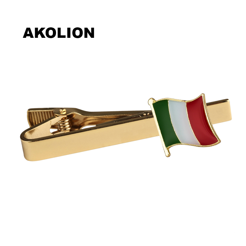 Classic Metal Tie Clip Italy Nation Flag Tie Bar Gold Tie Pin For Formal Dress Shirt Ceremony Tie Clamp   KS-0206