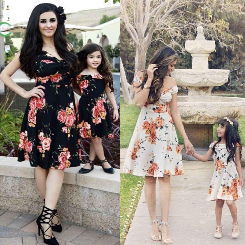 2019 ฤดูใบไม้ผลิใหม่จับคู่แม่ลูกสาว Mommy และ ME เสื้อผ้า Family LOOK เสื้อผ้าชุด
