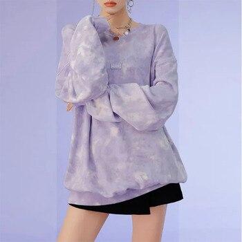 hoodie women O-Neck long sleeves oversize sweatshirttaro purple tie-dye loosewomen's sweatshirt bts purple lace design v neck long sleeves self tie waist pajamas
