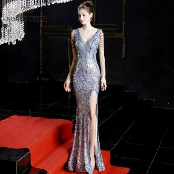 evening dresses 2019 colorful mermaid elastic sequin v-neck party dress sexy split long prom gown - discount item  46% OFF Special Occasion Dresses