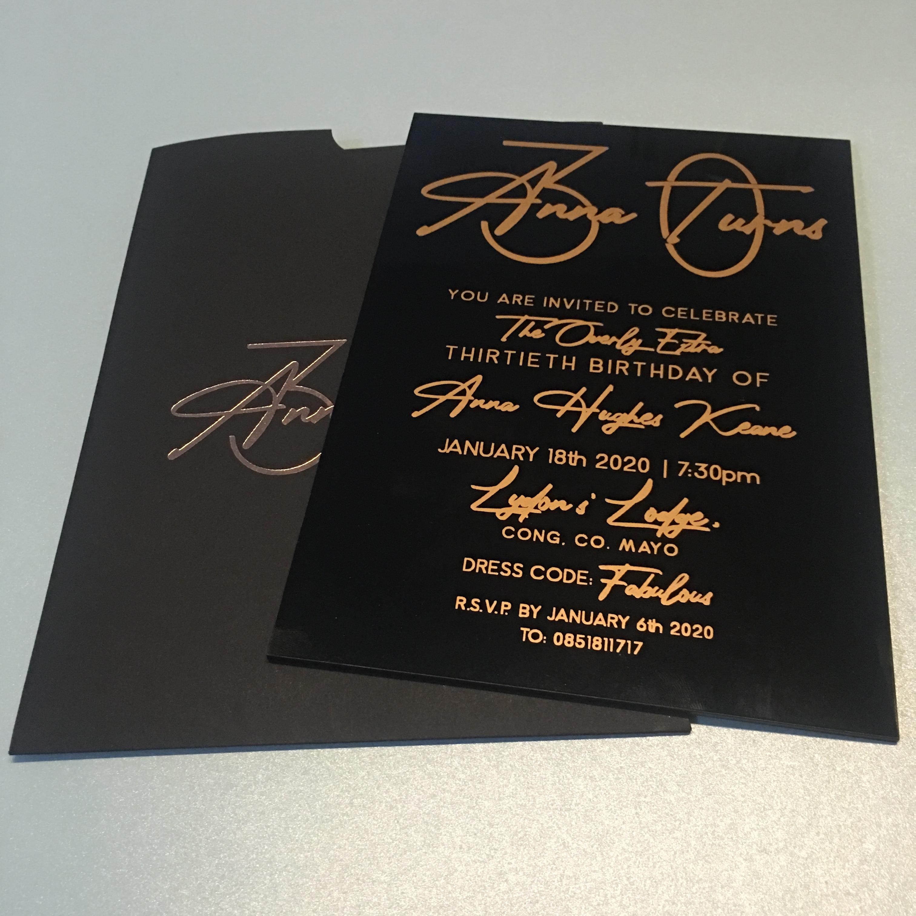 High Class Elegant Black Acrylic Wedding Invitation Card Rose Gold Printing With Matching Black Envelop