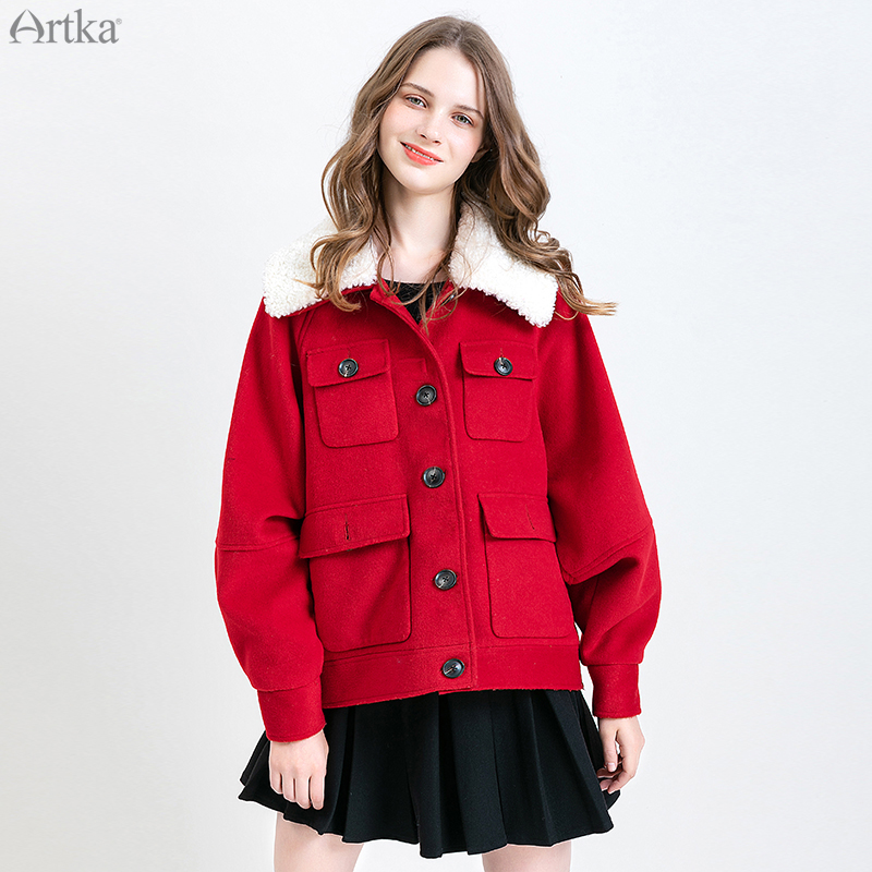 ARTKA 2019 Winter New Women Woolen Coat Single Breasted Thicken Woolen Jacket Pocket Detachable Lamb Fur Collar Outwear WA10193Q
