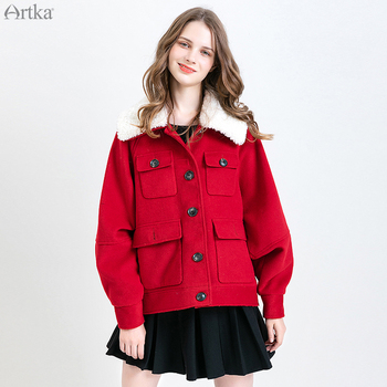 ARTKA 2019 Winter New Women Woolen Coat Single Breasted Thicken Woolen Jacket Pocket Detachable Lamb Fur Collar Outwear WA10193Q notch lapel patch pocket back vent woolen coat