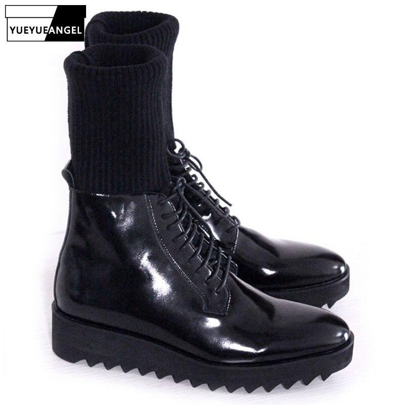 Italy Designer Men Antiskid Platform Winter Boots Lace Up Genuine Leather Biker Socks Boots Med Heels Runway Footwear Male Shoes