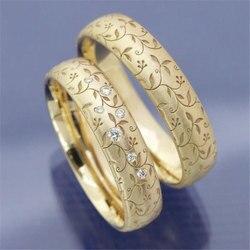 2 Stuks Vintage Belofte Trouwringen Voor Vrouwen Mode Kristal Bloem Paar Ringen Geel Goud Kleur Engagement Sieraden Geschenken