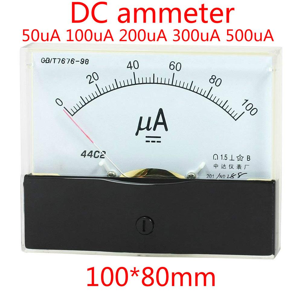 DC 0-1mA Rectangle Analog Panel Ammeter For Auto Circuit Or Other Voltage Measurement Devices Amperemeter Tester Gauge DC 0-1 mA