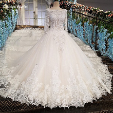 LS00213 vestido de noiva casamento backless appliques 3/4 sleeves lace ball gown beading Luxury wedding dresses real photos