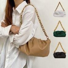 women's trend bag Gold Chains Dumpling Clip Purse Bag Women Cloud Underarm Shoulder Bag Pleated Baguette Pouch Totes Handbag