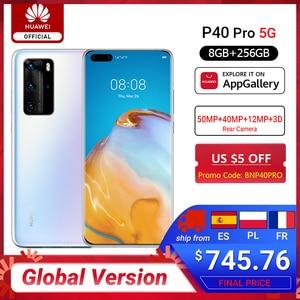 Глобальная версия Huawei P40 Pro 8G 256G Kirin 990 5G восьмиядерный смартфон с тройной камерой 6,58 ''экран SuperCharge 40W