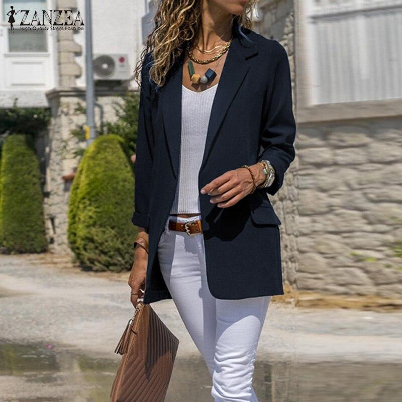 ZANZEA Women Elegant Turn-down Collar Blazers Spring Autumn Coat Office Lady Business Blazer Casual Long Sleeve Jackets Outwear