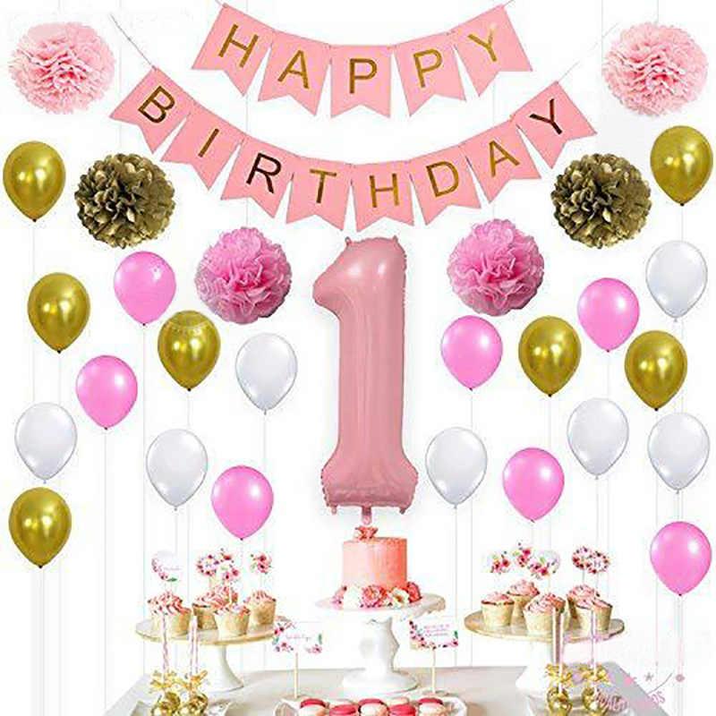 С Днем Рождения Воздушный Шар из фольги номер баллон баннер 1-й ребенок мальчик девочка вечерние украшения мой 1 год поставки розовое золото
