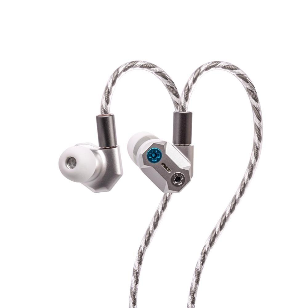 Shuoer tape pro   magnetoestático dinâmico híbrido iem fones de ouvido com parafusos de ajuste graves e pinos duplos prata chapeado cabos de cobre