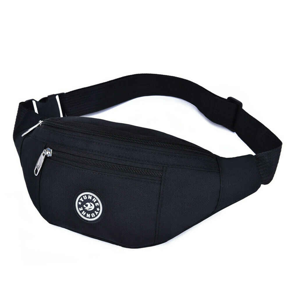 Black Bumbags for Ladies Women Men Waist Bag Fanny Pack with Adjustable Elastic Strap 5 Zipped Pockets Waterproof Running Bumbag for Dog Walking Running Hiking Travel /& Outdoor Activities