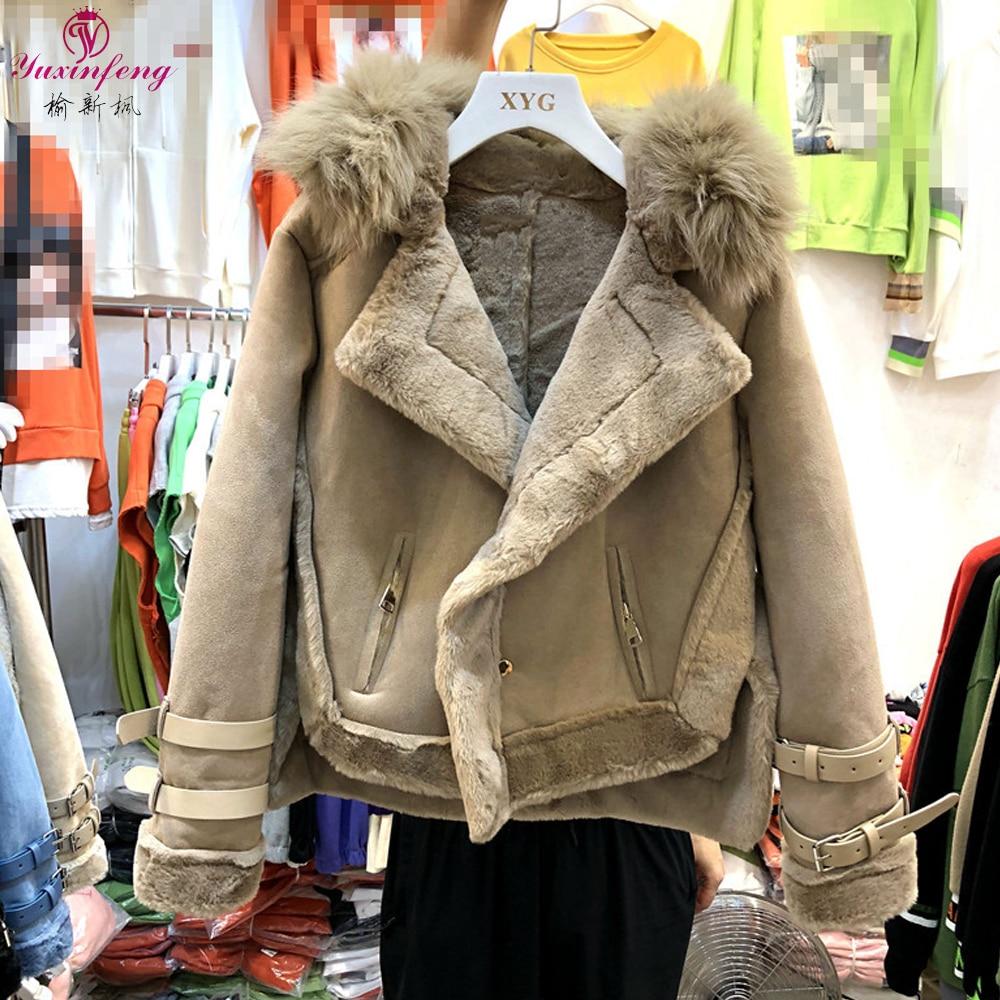 Yuxinfeng зимнее пальто из овечьей шерсти Женская мода толстые мотоциклетные замшевые кожаные куртки Дамская мода теплая байкерская куртка Beigeblue on AliExpress - 11.11_Double 11_Singles' Day