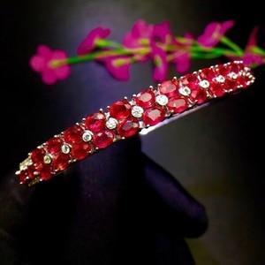 Image 3 - Natural ruby bracelet, hot quality, beautiful color, 925 sterling silver, adjustable size