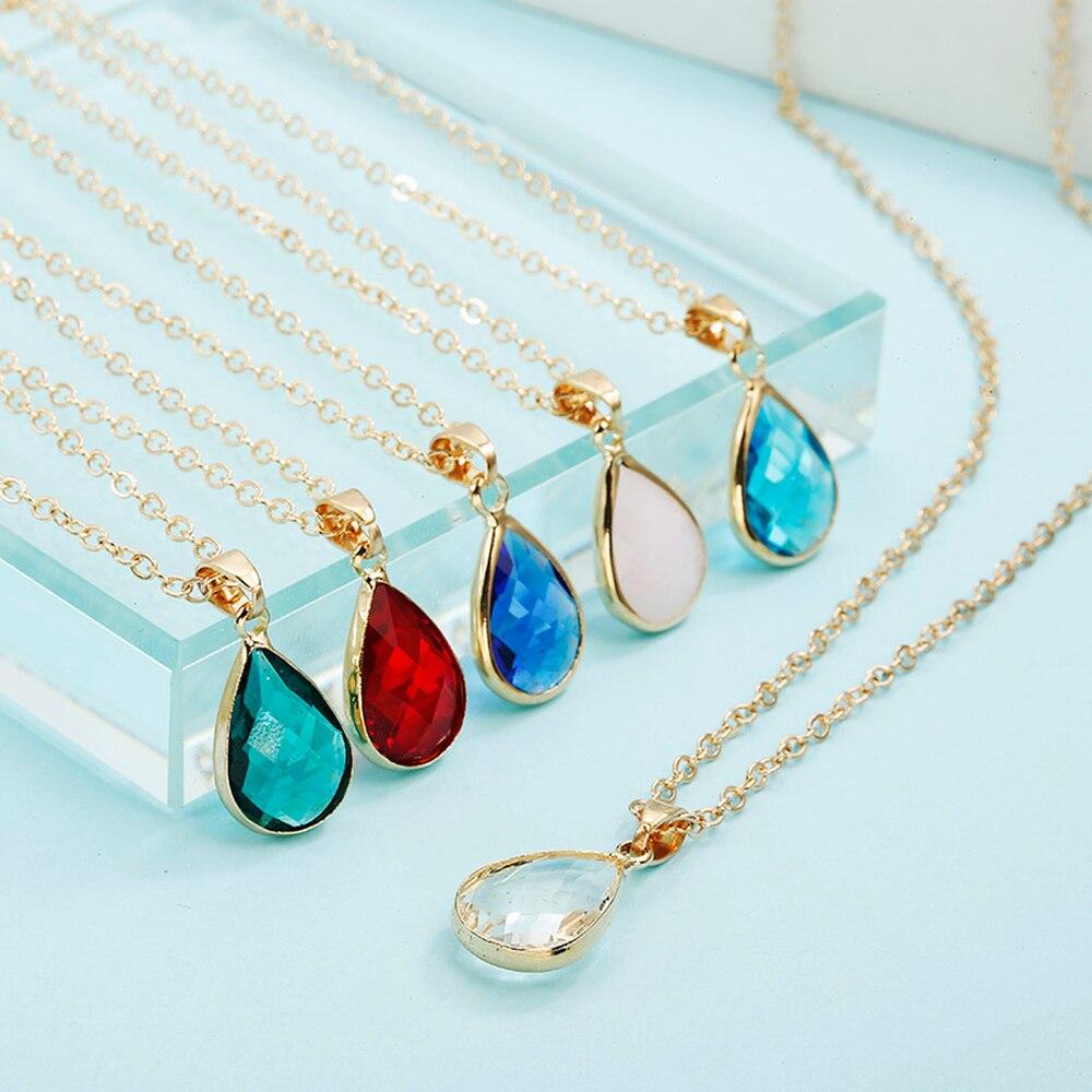 Fashion Jewelry Birthstone Natural Water Drop Pendant Necklace Quartz Gem Stone Crystal DIY Charm Teardrop Necklace For Women