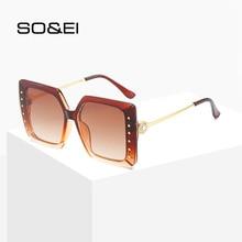 SO&EI Fashion Diamond Oversized Sunglasses Women Elegant Square Large Frame Men Beach Sun Glasses Sunshade UV400 Gafas De Sol