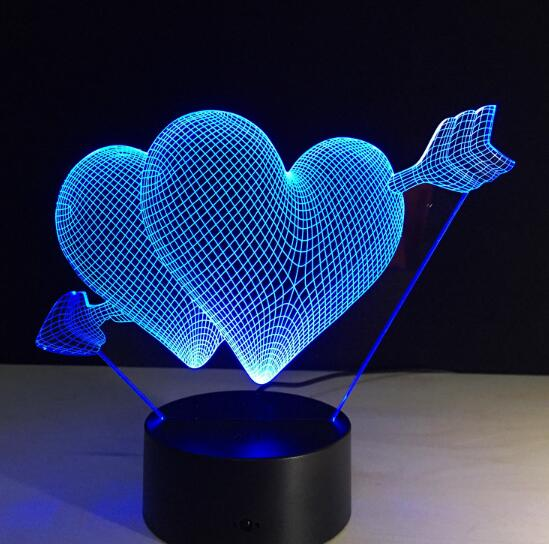 Love Heart Hand Gesture 3D LED Night Light with 7 Colors Light for Home Decoration Lamp Amazing Optical Light Xmas Gift 3D-797