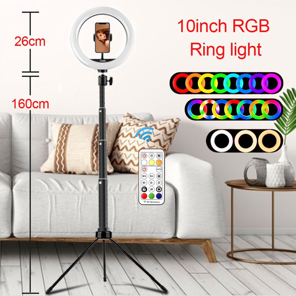 10 inch LED RGB Ring Light USB Selfie Video Lamp Kit with Tripod Remote Control for Photography Makeup Studio Live