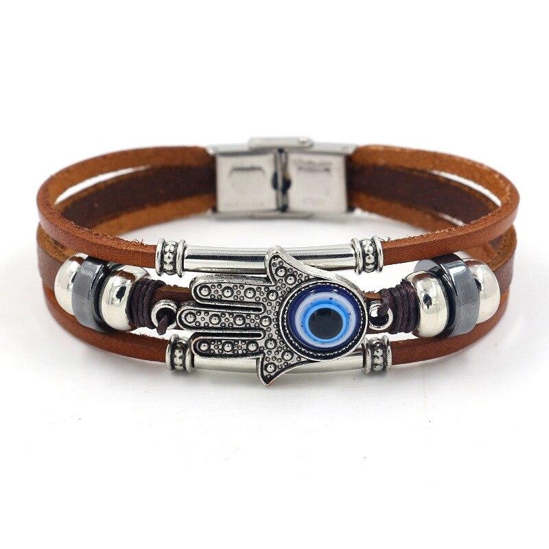 HI MAN Trendy Punk Multilayer Leather Bracelet Female Fatima Hand Sun Flower Leaf Alloy Accessories Charm Jewelry Wristband Gift