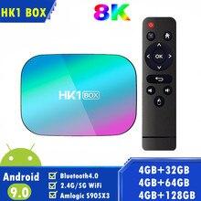 Hk1 caixa 8k amlogic s905x3 4gb ram 64gb hk1box android 9.0 sistema operacional conjunto superior duplo wifi 4k caixa de tv inteligente vs x96air h96max a95xf3 vbox