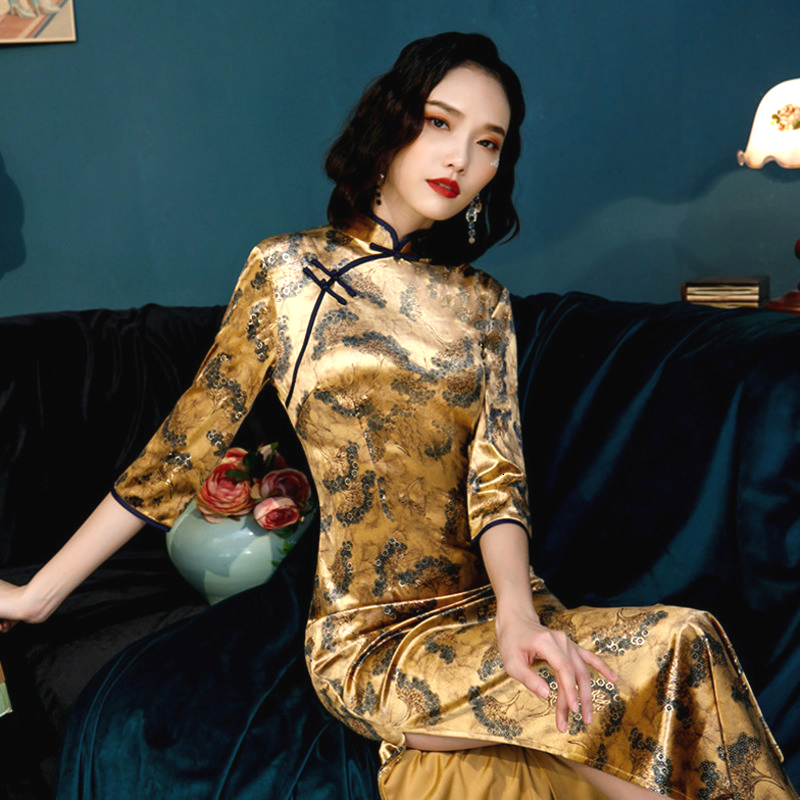3XL 4XL 5XL Plus Size Golden Velour Qipao Long Cheongsam Long Sleeve Modern Cheongsam Female