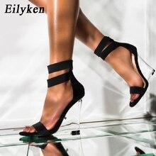 EilyKen New Fashion Peep Toe Zipper Women Sandals Wedges Transparent High Heels