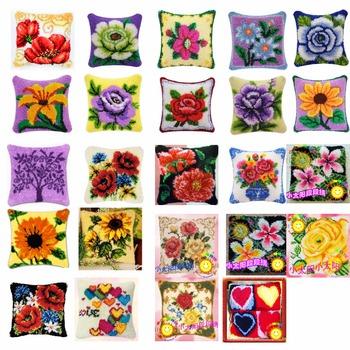 Flowers-2-Cushion-Latch-Hook-Kit-Pillow-Mat-DIY-Craft-Flower-42CM-42CM-Cross-Stitch-Needlework tanie i dobre opinie DDX0010 PAPER BAG Mieszanina tekstylne Europejski i amerykański styl Poduszka kształt kości poduszki samochód poduszki