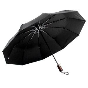 Image 5 - Parachase Ombrello Automatico Degli Uomini di Affari 10 Costole Manico In Legno Golf Ombrelloni Antivento Anti UV Ombrellone Ombrello Chiaro UPF50 +