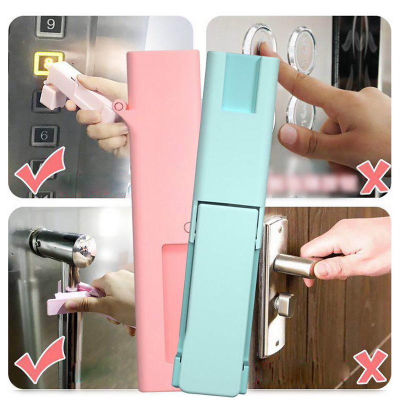 Door Opening Tool Elevator Pressing Handle Anti Virus Expert Door Tool With Disinfection Portable Doorknob Handle Non-Contact