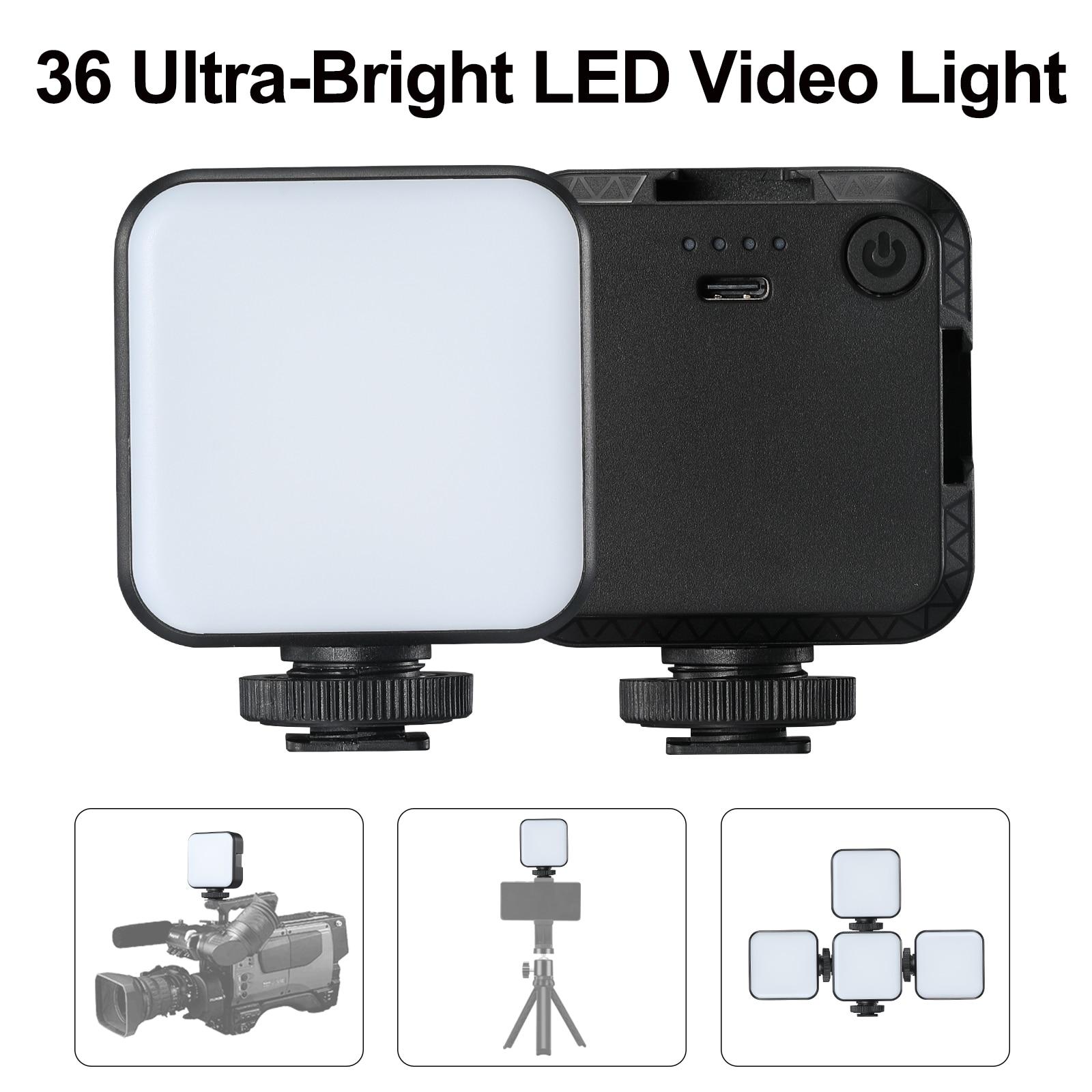 Приглушаемая мини-светодиодная лампа для видеосъемки, заполняющая лампа, адаптер крепления холодного башмака для камер Canon, Nikon, Sony, DSLR