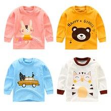 Luna Blanco/Хлопковые Осенние футболки для мальчиков и девочек, одежда футболка с длинными рукавами для девочек возрастом от 6 месяцев до 5 лет топы, нижнее белье, рубашки модный стиль